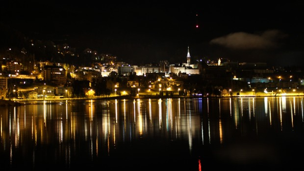 city lights reflect st moritz night
