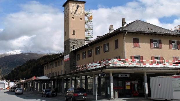 outside saint moritz train station